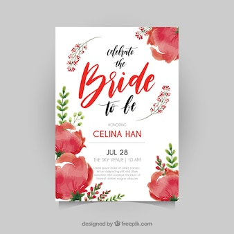 Cute bridal shower invitation with red flowers