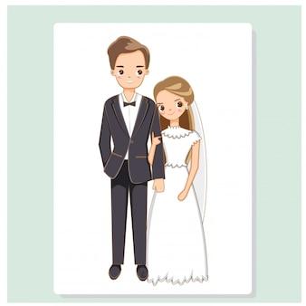 웨딩 드레스에 신랑과 귀여운 신부