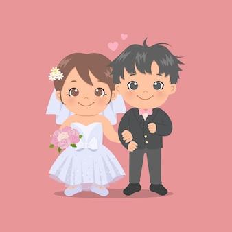 귀여운 신부와 신랑 웨딩 드레스와 턱시도를 입고. 발렌타인 데이. 플랫 스타일.