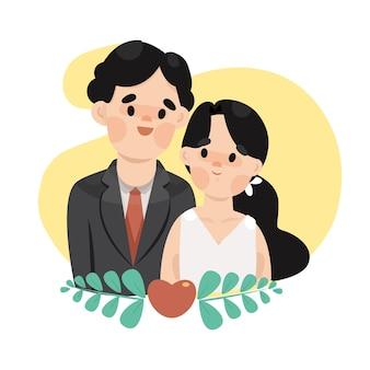 귀여운 신부와 신랑 결혼식 그림