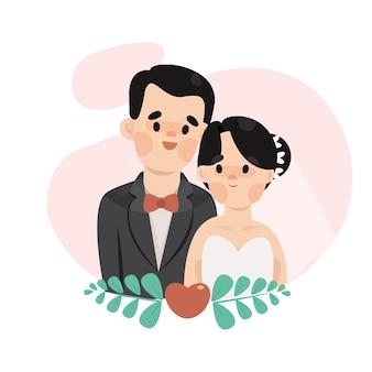 かわいい花嫁と花婿の結婚式のイラスト