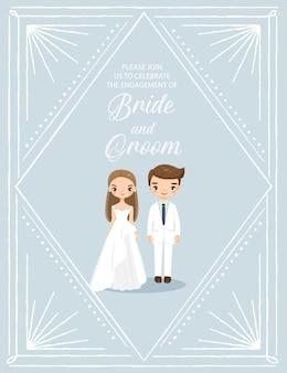 Cute bride and groom in art deco wedding invitations card