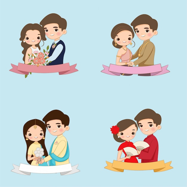 Cute bride and groom cartoon character collection set