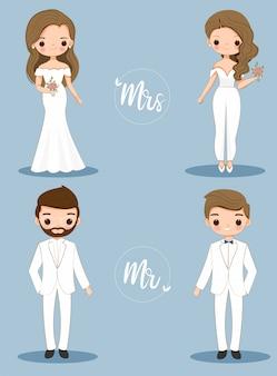 Cute bride and groom cartoon character set