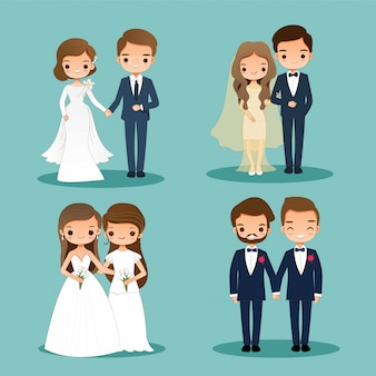 Cute bride and groom cartoon couple character set