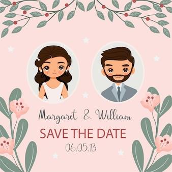 Cute bride and groom cartoon on pink invitation card design