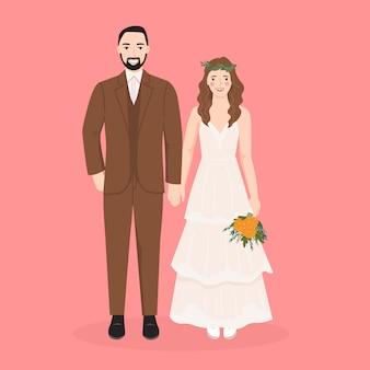 Cute bride and groom cartoon for wedding invitation card template