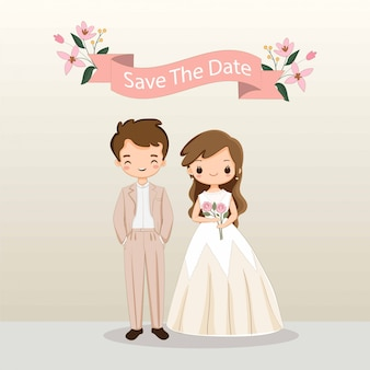 Cute bride and groom cartoon for wedding invitation card template