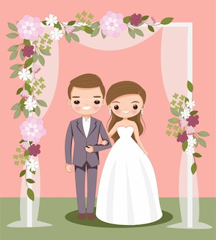 Cute bride and groom cartoon on wedding invitation card