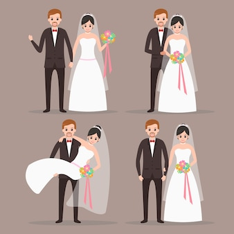 Cute bride and groom couple cartoon character with many poses