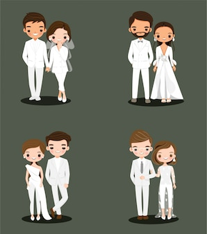 Cute bride and groom couple in white wedding dress suit cartoon character