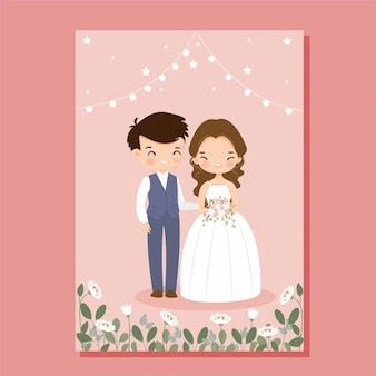 Cute bride and groom on flower wedding invitation card