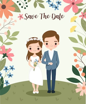 Cute bride and groom on flower wedding invitations card
