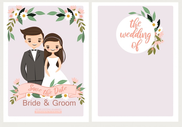 Cute bride and groom on wedding invitaion template card