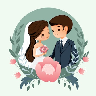 Cute bride and groom with flower background for wedding invitation card