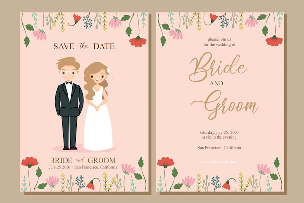 Cute bride and groom with flower wedding invitation card template