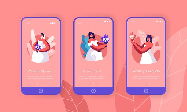 Cute bride hold bouquet mobile app page onboard screen set.