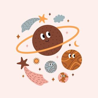보헤미안 스타일의 귀여운 밝고 다채로운 우주 물체