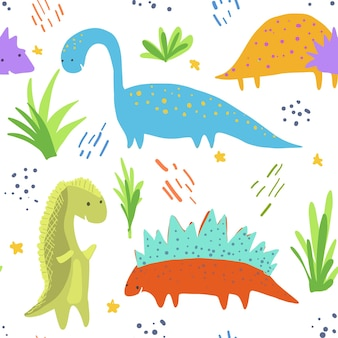 Cute bright dinosaurs pattern for kids textile