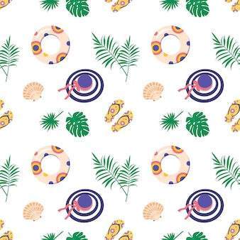 Cute bright seamless summer pattern with items for the sea and vacation