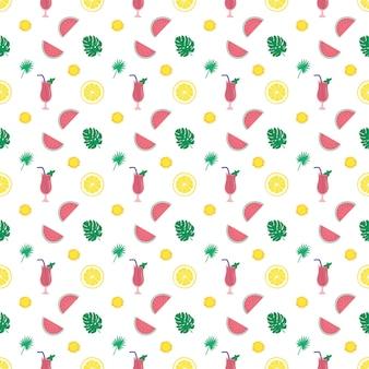 수박, 레몬, 선인장과 함께 귀엽고 매끄러운 여름 패턴입니다. 인쇄, 섬유, 포장지 및 디자인을 위한 장식 요소입니다. 벡터 평면 그림