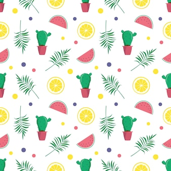 Cute bright seamless summer pattern with watermelons lemon cactus