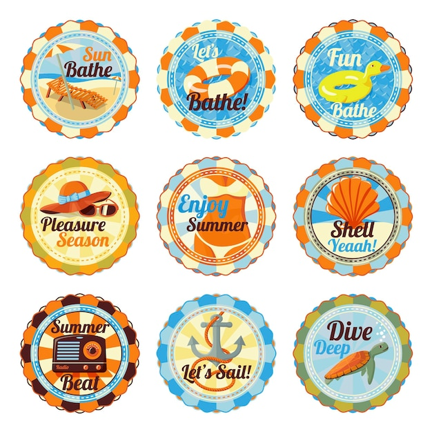 Cute bright summer badges with slogans