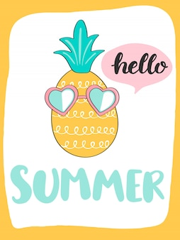 Cute bright summer card with pineapple and handdrawn lettering