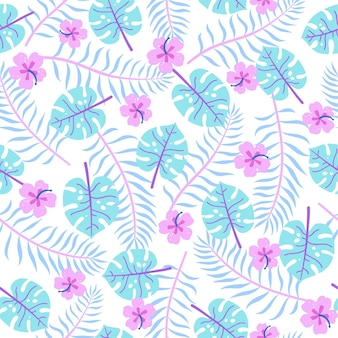 Cute bright tropical leaves vector hand drawn seamless pattern