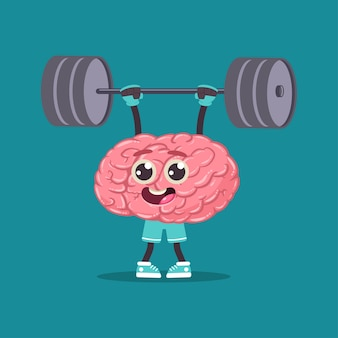 Cute brin with barbell doing fitness exercises. vector cartoon human internal organ character isolated on space.