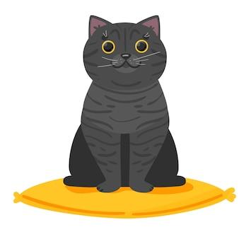 ショップ獣医クリニックホテルのバナーwb広告とはがきのかわいい英国猫の美しいロゴ白い背景のベクトル図に分離されたベクトル図 Premiumベクター