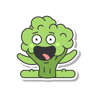 Cute broccoli doing fitness exercise vector cartoon sticker isolated on a white background.