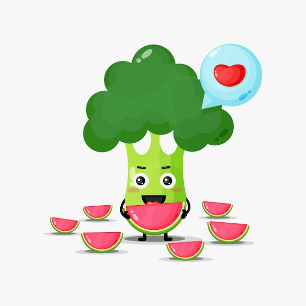 Cute broccoli eats watermelons