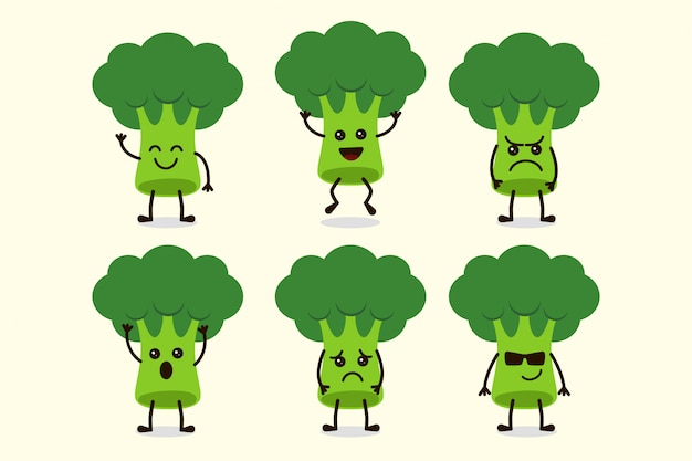 Cute broccoli vegetable character isolated in multiple expressions