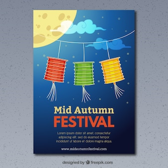 Cute brochure with lanterns in different colors