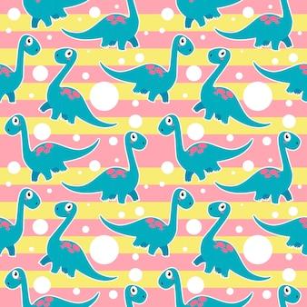 シームレスなかわいいブロントサウルス恐竜パターン