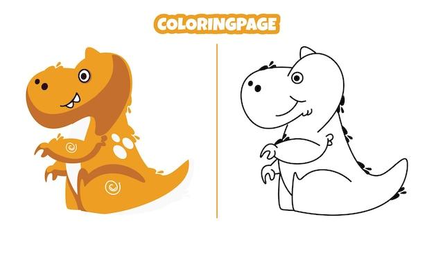 아이들에게 적합한 색칠 공부 페이지가 있는 귀여운 브론토사우루스