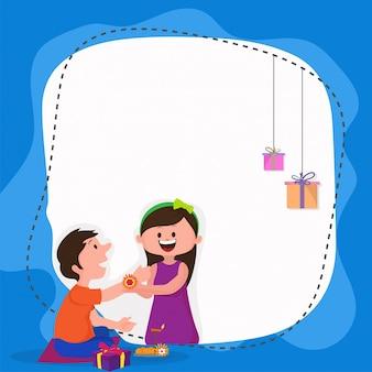 Cute brother and sister celebrating raksha bandhan.