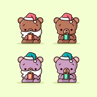 작은 크리스마스 선물을 들고 귀여운 갈색과 보라색 곰