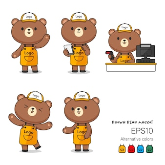 Cute brown bear assistant in apron