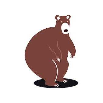 Cute brown bear cartoon illustration