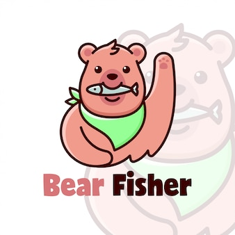 Cute brown bear cartoon logo eating a fish