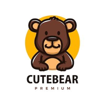 Cute brown bear cartoon logo vector icon illustration