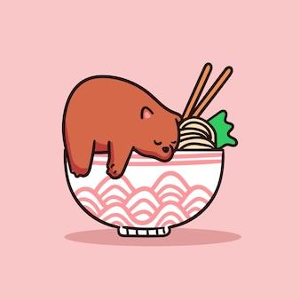라면 일러스트의 그릇에 귀여운 갈색 곰 캐릭터 수면