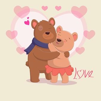 Милая пара бурого медведя в любви