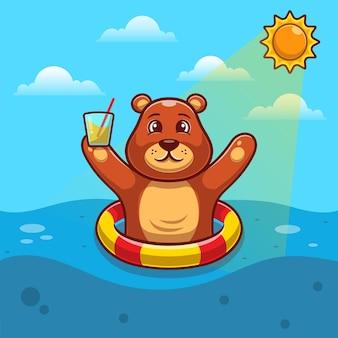플랫 수영 반지와 함께 떠있는 귀여운 갈색 곰.