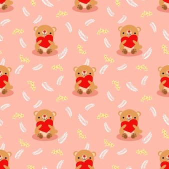 Милый бурый медведь держит красное сердце бесшовные модели.