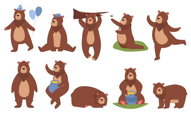 Cute brown bear illustration set.