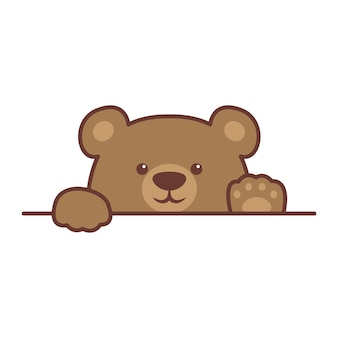 Cute brown bear paws up over wall cartoon vector