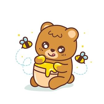 かわいいヒグマが座って蜂蜜のイラストを食べる